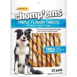 Ruffin' It Chomp'Ems Triple Flavor Twists 22/Pkg 5.4Oz Chicken, Bacon & Beefhide - 8258