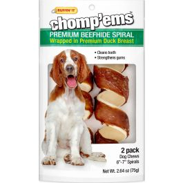 "Ruffin' It Chomp'Ems 6"" Beefhide Spirals W/Duck 2/Pkg  - 8266"