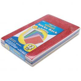 "Glitter Sticky Back Foam Sheets 6""X9"" 12/Pkg Assorted Colors - 106-1009"