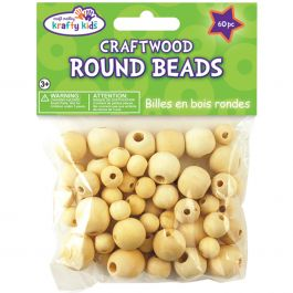 Craftwood Round Beads 10Mm To 16Mm 60/Pkg Natural - CW330