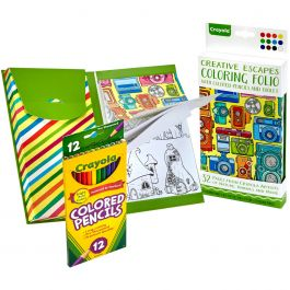 Crayola Coloring Folio W/Colored Pencils & Tablet Travel Set - 1835801