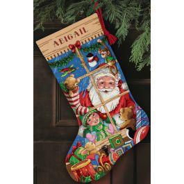 "Dimensions Gold Collection Counted Cross Stitch Kit 16"" Long Santa'S Toys Stocking (18 Count) - 8818"