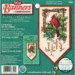 "Dimensions Mini Counted Cross Stitch Kit 10"" Long Cardinal Joy Banners (14 Count) - 8822"
