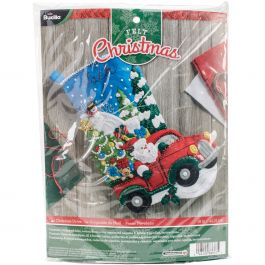 "Bucilla Felt Stocking Applique Kit 18"" Long The Christmas Drive - 86663"