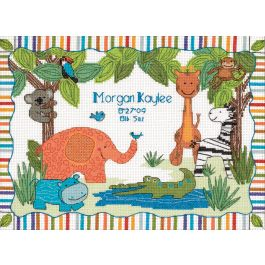 "Dimensions/Baby Hugs Counted Cross Stitch Kit 12""X9"" Mod Zoo Birth Record (14 Count) - 73508"