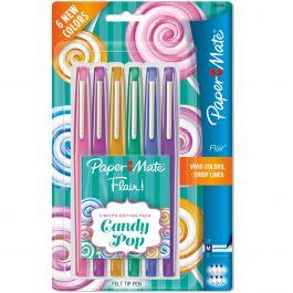 Paper Mate Candy Pop Flair Medium Felt Tip Pens 6/Pkg Assorted - 1982365