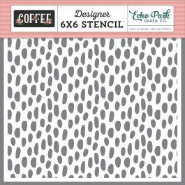 "Echo Park Stencil 6""X6""-Coffee Dot"