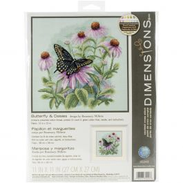 "Dimensions Counted Cross Stitch Kit 11""X11"" Butterfly & Daisies (14 Count) - 35249"