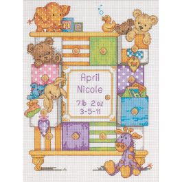 "Dimensions/Baby Hugs Counted Cross Stitch Kit 9""X12"" Baby Drawers Birth Record (14 Count) - 73538"