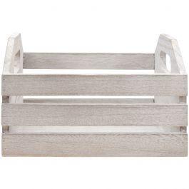 """Jillibean Soup Mix The Media Wooden Crate 7""""X7""""X4.5"""" Weathered W/Cutout Handles - AC0474"""