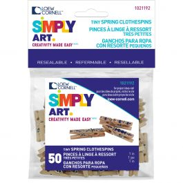 """Simply Art Wood Tiny Spring Clothespins Natural 1"""" 50/Pkg - 1021192"""