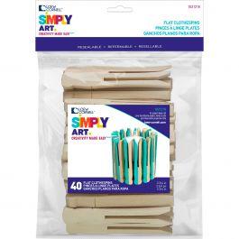 "Simply Art Wood No Roll Clothespins Natural 3.75"" 40/Pkg - 1021218"