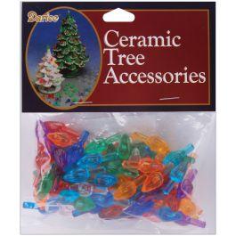"Ceramic Christmas Tree Bulbs .625"" 100/Pkg Flame  Multicolor - P0668"