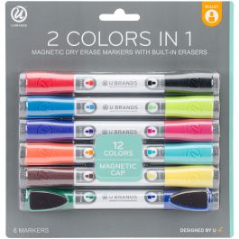 Double Ended Dry Erase Magnetic Markers 6/Pkg Assorted - 507U0624
