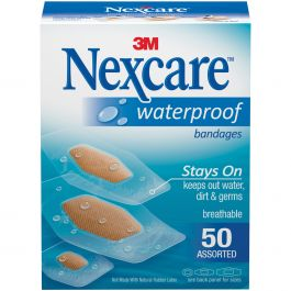 Nexcare Waterproof Bandages 50/Pkg Assorted Sizes - 432-50-3