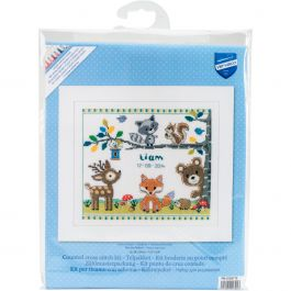 "Vervaco Counted Cross Stitch Kit 11.25""X9.5"" Forest Animals Record On Aida (14 Count) - V0150179"