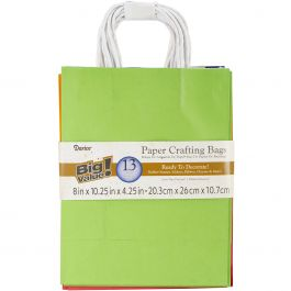"Darice Paper Bags 8""X10.25""X4.25"" 13/Pkg Assorted Primary - BAG237"
