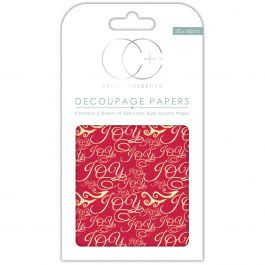 "Craft Consortium Decoupage Papers 13.75""X15.75"" 3/Pkg Joy Red - XDECP035"