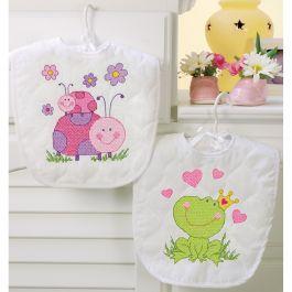 "Dimensions/Baby Hugs Stamped Cross Stitch Kit 9""X14"" 2/Pkg Fairy Bibs - 70-73542"
