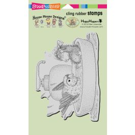 Stampendous House Mouse Cling Stamp Bird Bath - HMCR120
