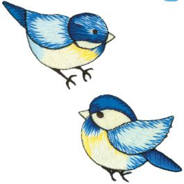 Wrights Iron On Appliques 2/Pkg Blue Birds - 193 907-6001