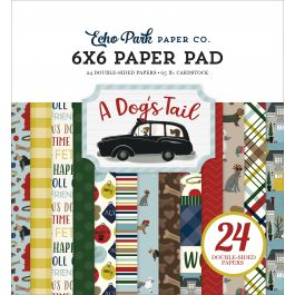 "Echo Park Double Sided Paper Pad 6""X6"" 24/Pkg A Dog'S Tail, 12 Designs/2 Each - ADT15523"
