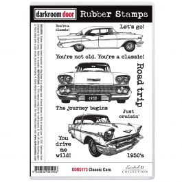 """Darkroom Door Cling Stamps 7""""X5"""" Classic Cars - DDRS173"""