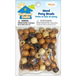 Clubhouse Crafts Wood Pony Beads 90/Pkg     - 89001-25