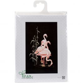 "Thea Gouverneur Counted Cross Stitch Kit 12.5""X21.5"" Flamingo On Aida (18 Count) - TG107005"