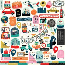 """Pack Your Bags Cardstock Stickers 12""""X12"""" Elements - PYB86014"""