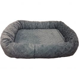 "Sleep Zone 40"" Diamond Cut Oval Orthopedic Dog Bed Gray - 30991"