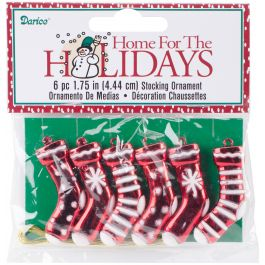 "Mini Plastic Stocking Ornaments 1.75"" 6/Pkg Red/White - 246258"