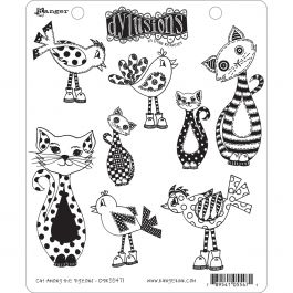 """Dyan Reaveley'S Dylusions Cling Stamp Collections 8.5""""X7"""" Cat Among Pigeons - DYR-55471"""