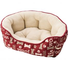 "Sleep Zone 24"" Woof Step In Scallop Shape Dog Bed Burgundy - 31008"
