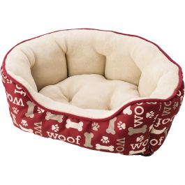 "Sleep Zone 31"" Woof Step In Scallop Shape Dog Bed Burgundy - 31009"