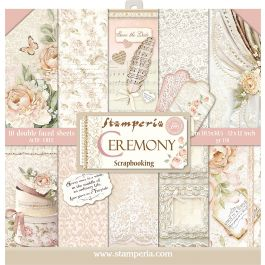 """Stamperia Double Sided Paper Pad 12""""X12"""" 10/Pkg Ceremony, 10 Designs/1 Each - SBBL42"""