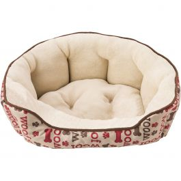 "Sleep Zone 24"" Woof Step In Scallop Shape Dog Bed Taupe - 31011"