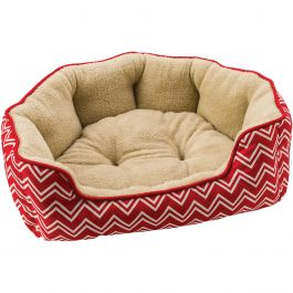 "Sleep Zone 21"" Chevron Step In Scallop Shape Dog Bed Red - 31013"