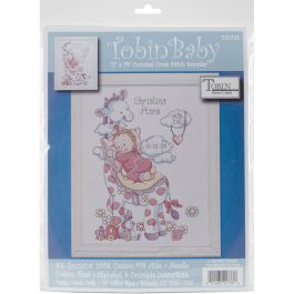 "Tobin Counted Cross Stitch Kit 11""X14"" Giraffe Birth Record (14 Count) - T21733"
