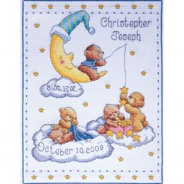 "Tobin Counted Cross Stitch Kit 11""X14"" Bears In Clouds Birth Record (14 Count) - T21727"