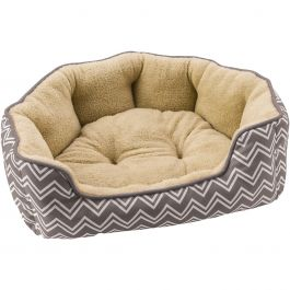 "Sleep Zone 24"" Chevron Step In Scallop Shape Dog Bed Gray - 31017"