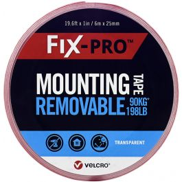 """Velcro(R) Brand Fix-Pro Removable Mounting Tape 1""""X19.5'-Clear, 198lb"""