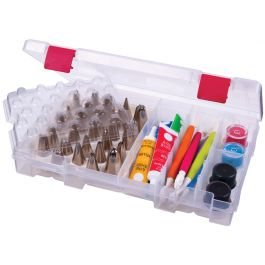 """Artbin Bakers Cupboard Decorating Supply Case 7.375""""X10.75""""X1.75"""" Translucent W/Red - 6933AB"""