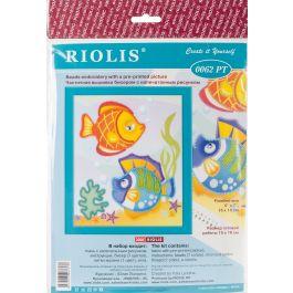 """Riolis Stamped Cross Stitch Kit 6""""X7"""" Sea Fish - R0062PT"""