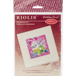"""Riolis Stamped Cross Stitch Kit 5.5""""X5.5"""" Gift Card (14 Count) - R1609AC"""