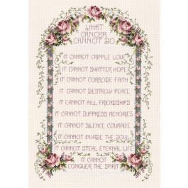 "Janlynn Counted Cross Stitch Kit 8.25""X12"" What Cancer Cannot Do (14 Count) - 80-0479"