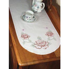 "Fairway Stamped Perle Edge Dresser Scarf 15""X42"" Rose - 16250"