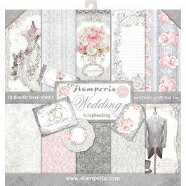 """Stamperia Double Sided Paper Pad 12""""X12"""" 10/Pkg Wedding, 10 Designs/1 Each - SBBL18"""