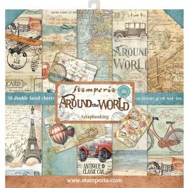 "Stamperia Double Sided Paper Pad 12""X12"" 10/Pkg Around The World, 10 Designs/1 Each - SBBL28"