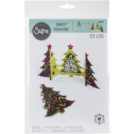 Sizzix Thinlits Dies By Jen Long 6/Pkg Christmas Tree Fold A Long Card - 660665